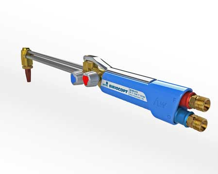 Air Liquide SAF-FRO Siriocopt oxygen cutting blowpipe and welding torch with integrated quickmatic connectores and ergonomic activation lever design by quickpartners on white background version with lever