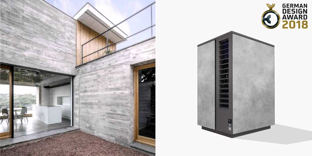 Glen Dimplex System M range of modular air water heat pumps design quickpartners with concrete like eternit panels for perfect fit to modern architecture german design award 2018