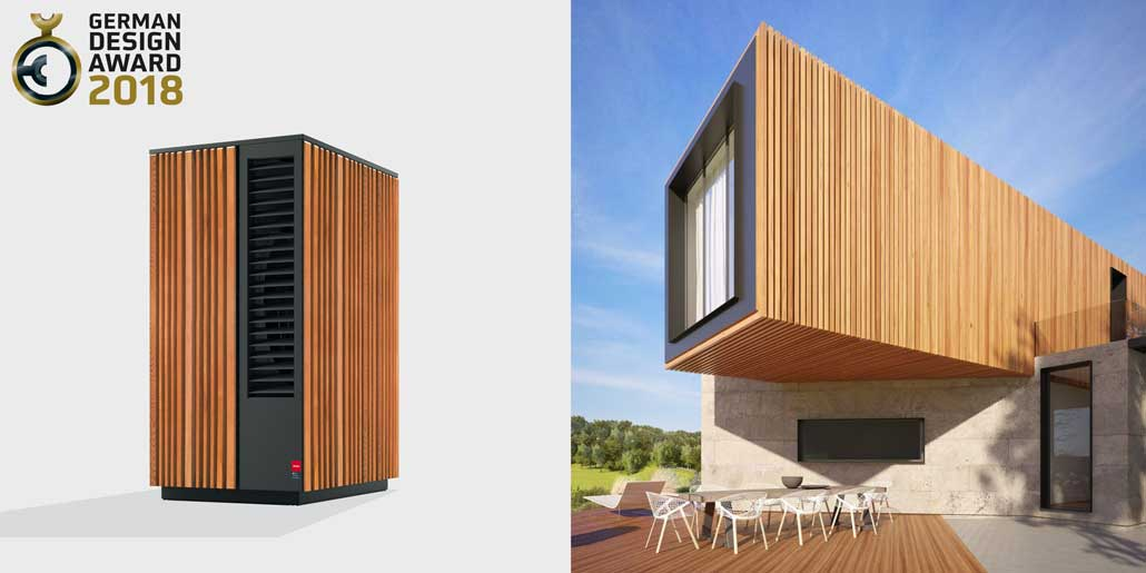 Glen Dimplex System M range of modular air water heat pumps design quickpartners in cooperation vince and vert with wood panels for esthetic fit to modern architecture german design award 2018