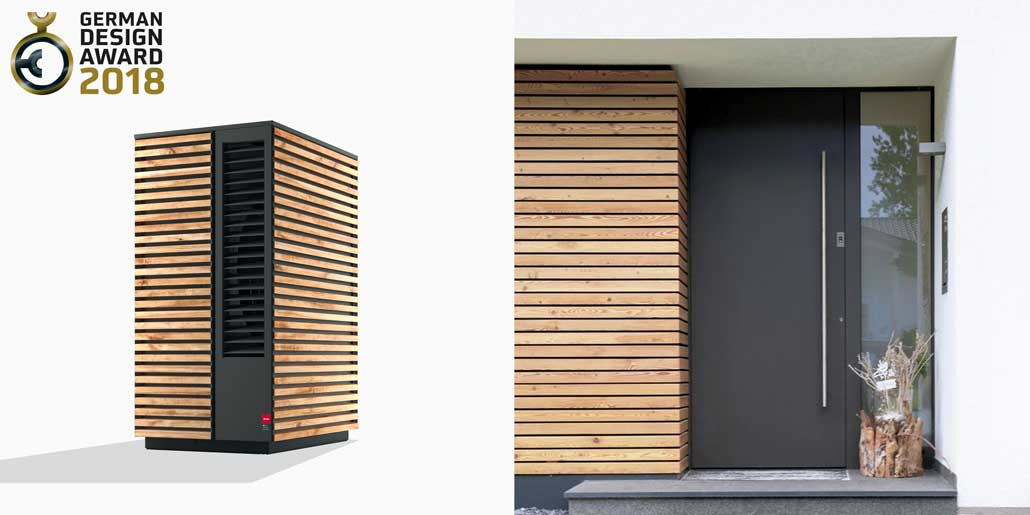 Glen Dimplex System M range of modular air water heat pumps design quickpartners in cooperation vince and vert version with horizontal genuine wood decor beside entrance door