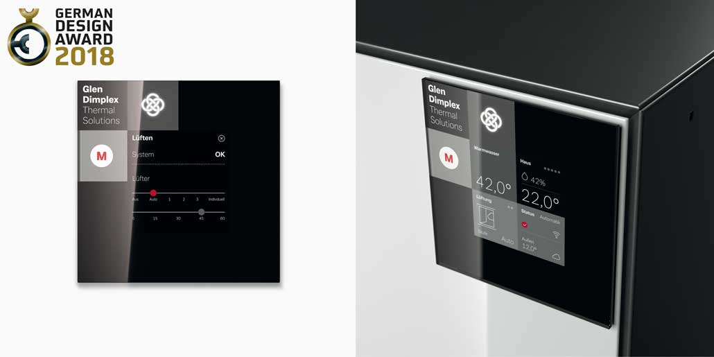 Glen Dimplex System M range of air water heat pumps with high resolution touch control display and remote control via app german design award 2018