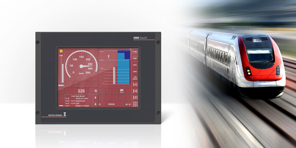 Deuta Werke Multifunctional terminal HMI with touchscreen for train operator stands cost-efficient housing engineering design quickpartners with protection IP40 and integrated heat dissipator