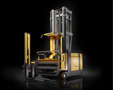 Forklift truck design by quickpartners with modular cabin assembly structure and ergonomic workspace for tireless efficient order picking. truck shown in color yellow and black for Dambach industries