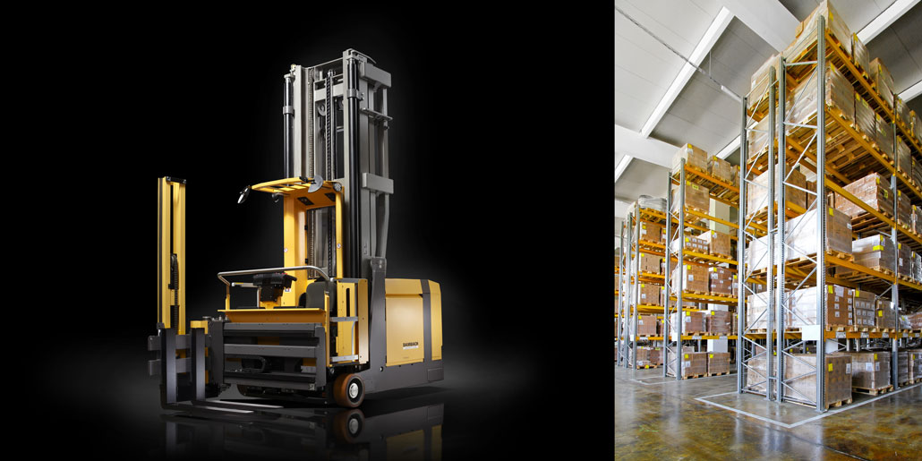 Narrow aisle forklift truck for Dambach Industries with new modular cabin assembly structure for efficient just in time production process. Innovative opening mechanism of machine housing