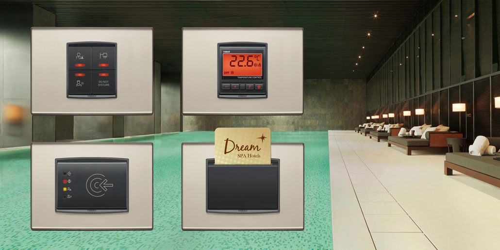 Vimar Eikon top level switch range designed by quickpartners with Complete functionality for hotel installations and centralized energy and access control via Well contact Plus software
