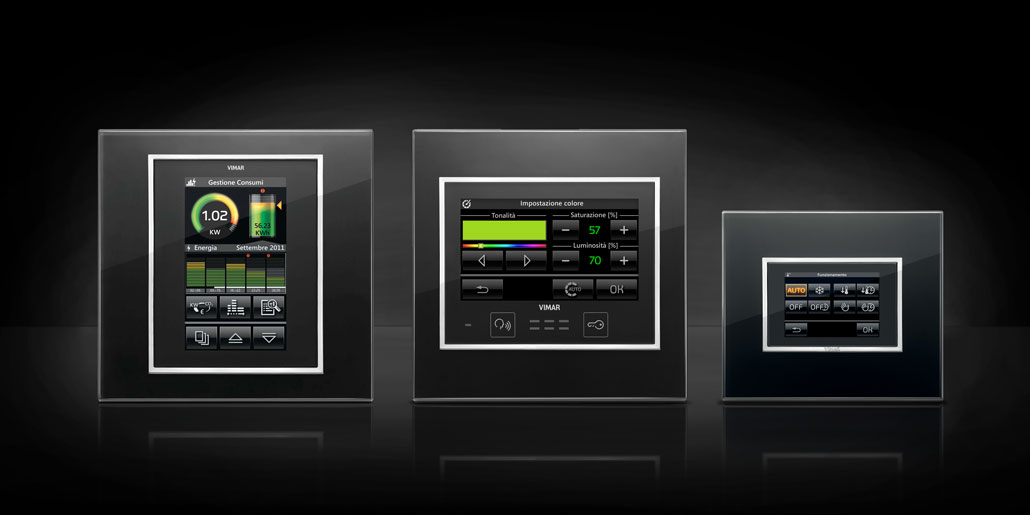 The same user experience on any platform. Vimar Byme home automation design quickpartners+. Energy management, light control and ambient control with Eikon Evo black glass on black background