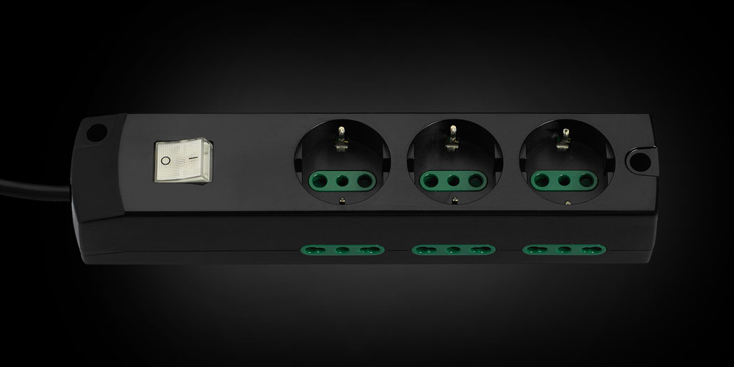 Vimar Supernova range of multiple power outlet socket strips design quickpartners with power switch and green child safety Sicury black version
