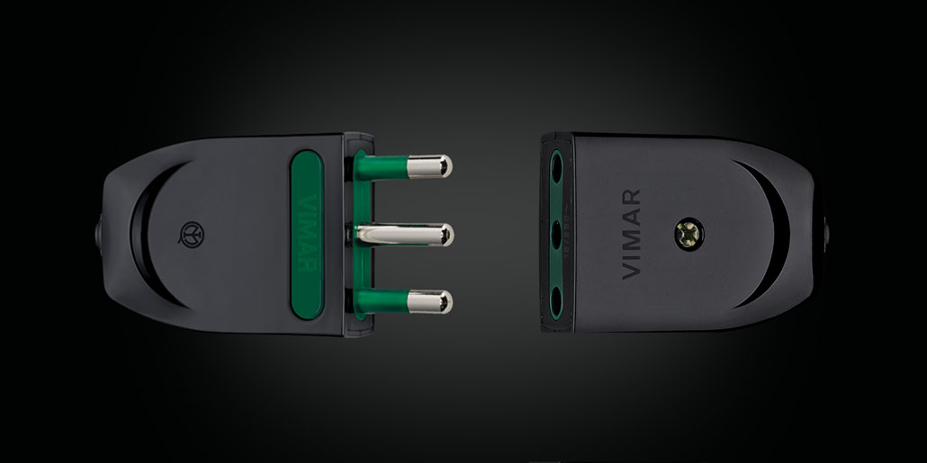 Vimar Supernova power plugs and mobile sockets re-design quickpartners with translucent power pins black version