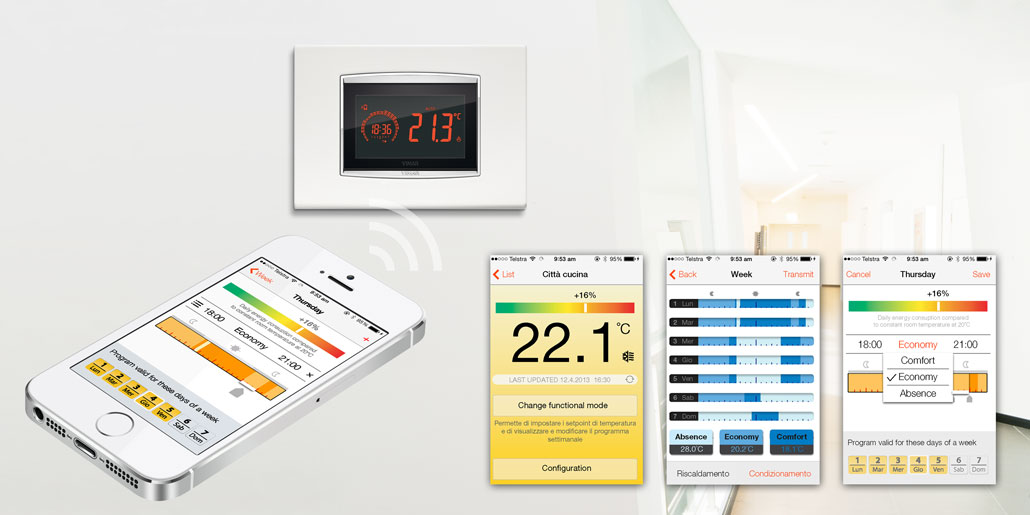 App for iOS and Android for comfortable setup and programming of thermostat Clima & Energy of Vimar designed by quickparters. The User Interface is optimized for highly satisfactory user experience and clear user guidance. Some samplescreens show setpoint, cooling program and timer setup.