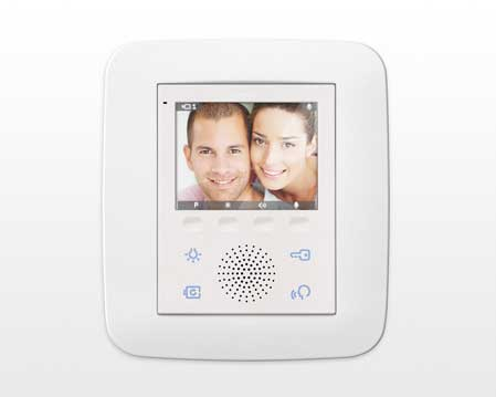 Vimar Video Door Entry Device with basic home automation functionality product and interface design quickpartners - high user interaction comfort with economic CPU and dsiplay technology and only 4 softbuttons. sample screen with active call on white backgraound