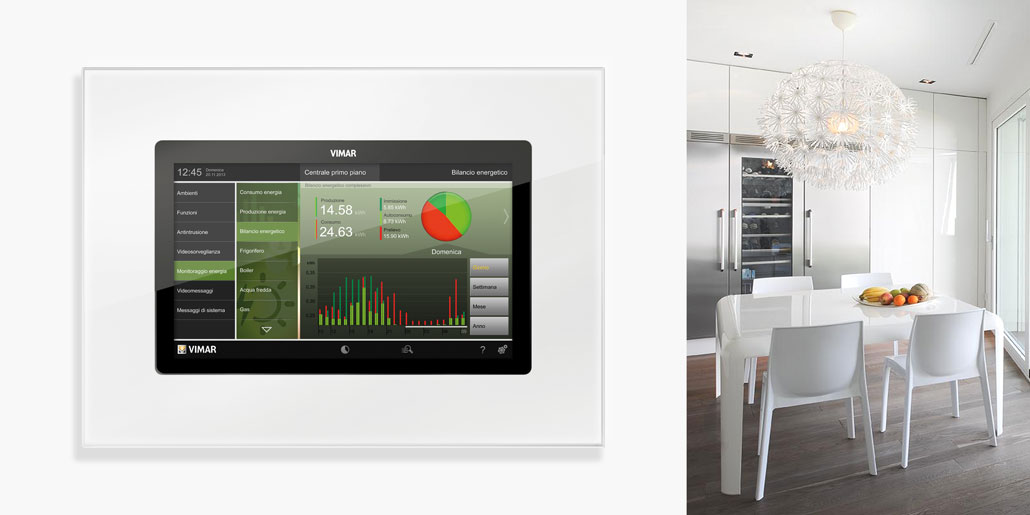 Vimar Webserver By-me responsive web-application for management of automated homes on multimedia touch screen. Example of Energy Monitor on Vimar Multimedia touch screen in white kitchen with wine cooler