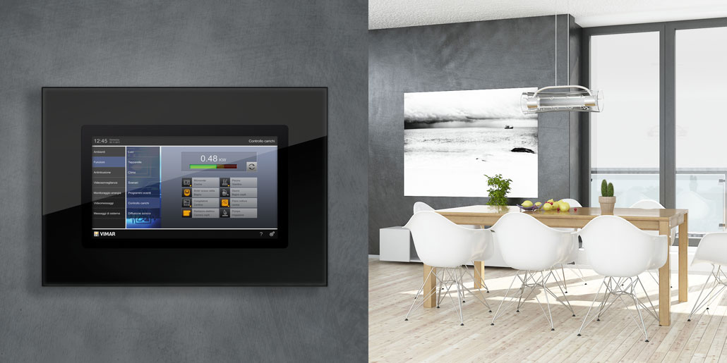 Vimar Webserver By-me responsive web-application for management of automated homes on multimedia touch screen. Example of load control on Vimar VTS10 in modern living room