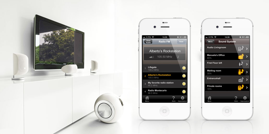 Vimar Webserver By-me responsive web-application for remote control of automated homes wia internet For any wall-mounted device or laptop or mobile device like tablet or smartphone. interface design by quickpartners. Example of version By-phone with sound system on iPhone with white hifi