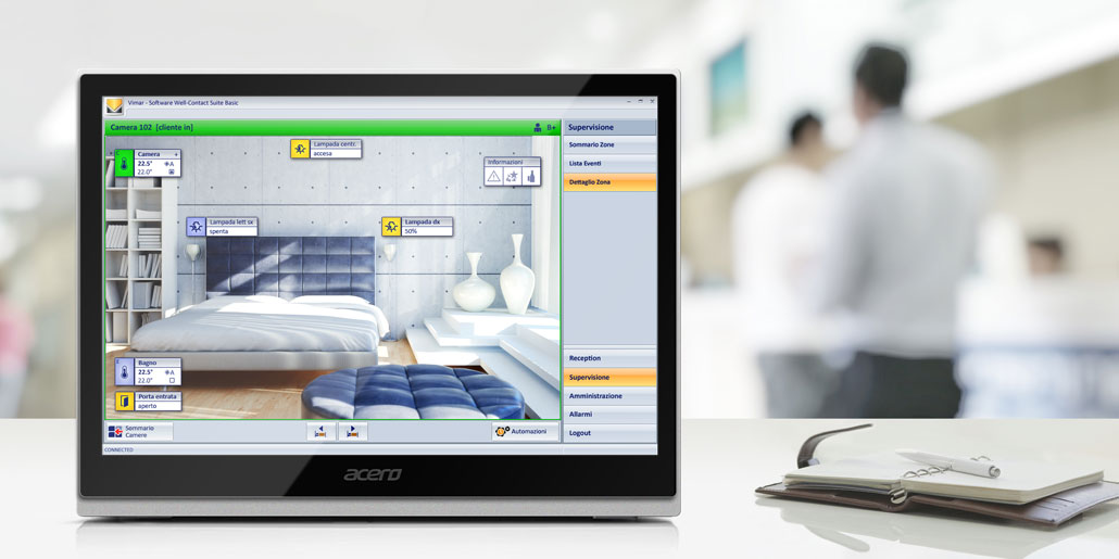Vimar Well-Contact Plus Software for centralized management of KNX-equiped buildings e.g. hotels. Interface design quickpartners. Sample Screen light temperature and energy management of a single room. Touch screen on hotel desk with people in the lobby