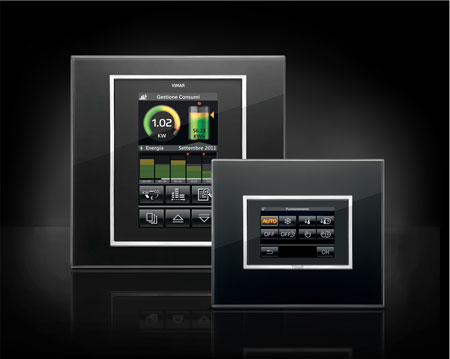 The platform may vary, the design language remains the same. Vimar Byme Touchpanels design quickpartners+. Energy management and light control with Eikon Evo black glass on black background